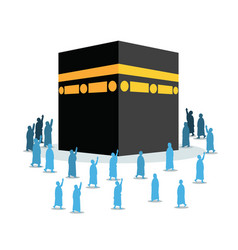 Hajj pilgrimage silhouette walking around kabaa vector