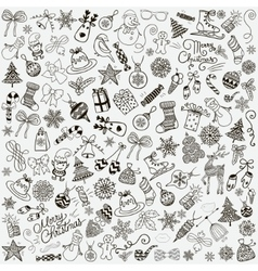 Hand Drawn Artistic Christmas Doodles Clip vector image