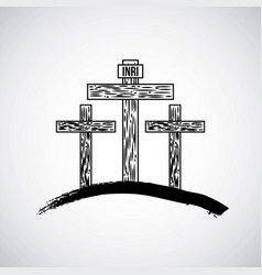 hand drawn mountain with three crosses catholic vector image