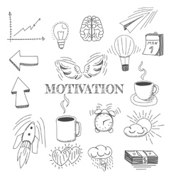 Hand drawn set of motivation vector