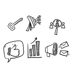 hand drawn simple set marketing related line vector image