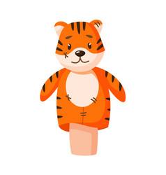 Handicraft tiger hand puppet for kindergarten game vector