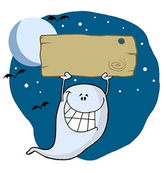 Happy ghost with plate vector image