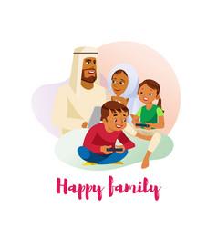happy muslim family cartoon vector image