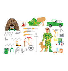 hunting equipment set in flat style isolated on vector image