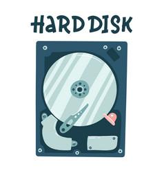 Internal computer hard disk harddisk flat vector