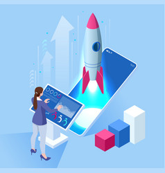 Isometric business start up concept startup vector