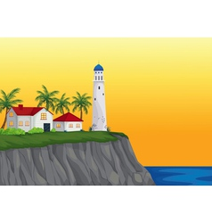 Light house and apartment near water vector