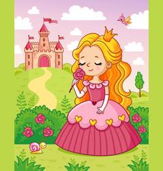 Little cute princess in a beautiful dress sniffs a vector