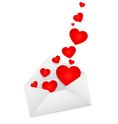 Love letter open with hearts floating out vector