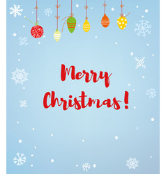 merry christmas card or background with snow and vector image