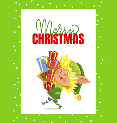 merry christmas elf carry holiday gift boxes vector image
