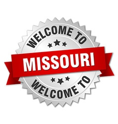 Missouri 3d silver badge with red ribbon vector