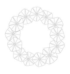 Morning glory flower outline wreath vector