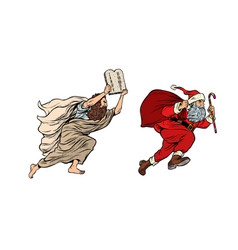 moses and santa claus dispute old and new vector image
