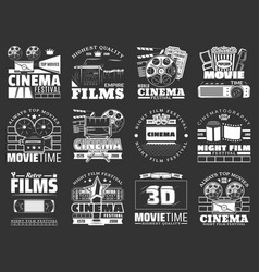 Movie theater cinema film reel camera popcorn vector