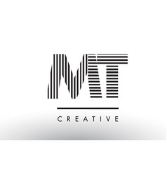 Mt m t black and white lines letter logo design vector