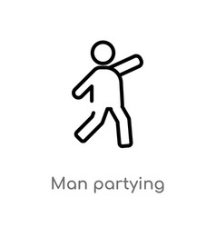 Outline man partying icon isolated black simple vector