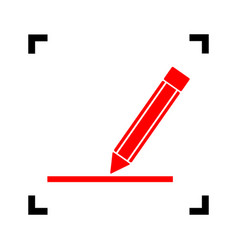 pencil sign red icon inside vector image