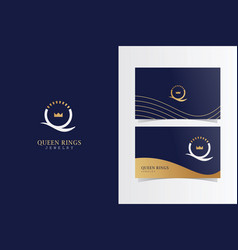 Q queen ring luxury logotype with business card vector