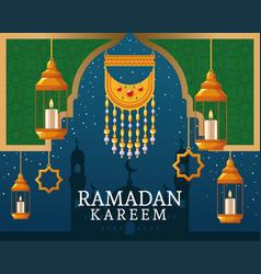 Ramadan kareem with pendant and islamic art vector