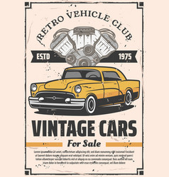 Retro cars sale rental and repair service vector