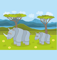 Rhinoceros family vector