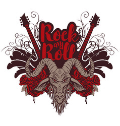 rock and roll banner with guitar goat and roses vector image