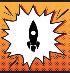 rocket sign comics style vector image