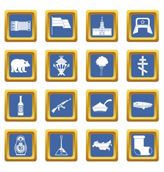 Russia icons set blue vector