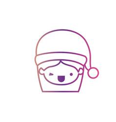 Santa claus woman kawaii face with wink eye and vector