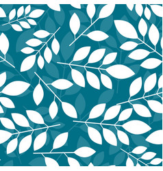 seamless botanical pattern with white leaves on a vector image