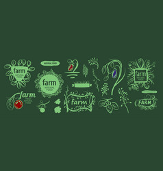 set corporate design elements for farms vector image