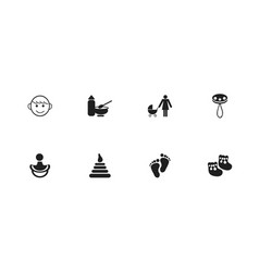 set of 8 editable baby icons includes symbols vector image