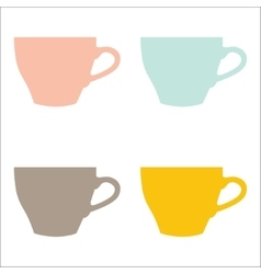 set of color cups on white background vector image