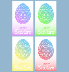 Set of colored easter eggs with floral ornament vector
