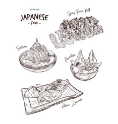 set of japanese food hand draw sketch vector image