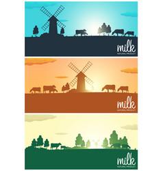 Set of milk banners milk natural product rural vector