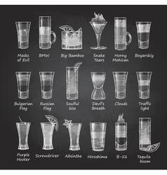 Set of shot cocktails menu design vector