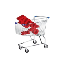 shopping cart with sale and 40 inside vector image