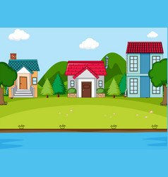 simeple countryside village scene vector image