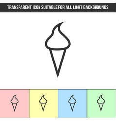 simple outline transparent ice cream icon on vector image