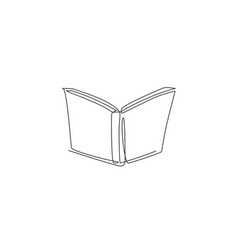 single continuous line drawing open book for vector image