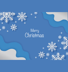 Snowflake shaped paper cut art on blue background vector