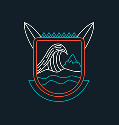 Summer beach surf badge icon in line art vector