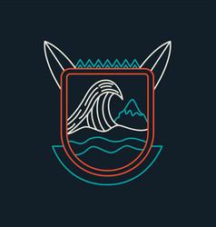 Summer beach surf badge icon in line art vector