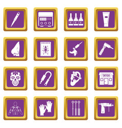Tattoo parlor icons set purple vector