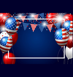 Usa balloon design of american flag with firework vector