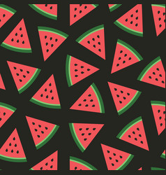Watermelon seamless pattern watermelon slices vector