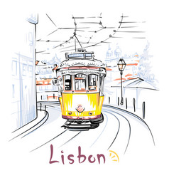 yellow 28 tram in alfama lisbon portugal vector image